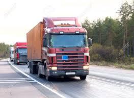 Tractor Trailer Trucks (lorry) Caravan Convoy Line Of
