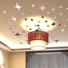 50 Pcs Ceiling Mirror Wall Sticker Home Decoration DIY Art Living Room Bed Star Shape 3D Acrylic Stickers In From