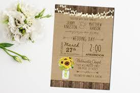 Printable Sunflower Wedding Invitation Mason Jar Rustic Digital File Country Barn Wood Hanging