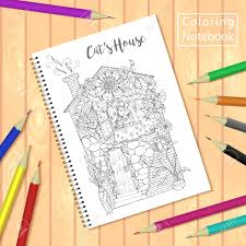 Spiral Bound Notepad Or Coloring Book With Colorful Pencils And Pages Picture House