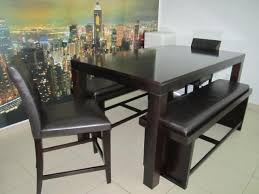 Dark Brown Wooden Dining Table With Chairs And Benches
