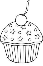 Black and White Cupcake Lineart