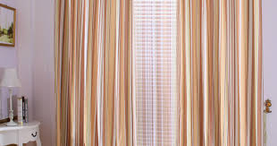 Striped Sheer Curtain Panels by Praiseworthy Art Victorious Brown Metal Curtain Pole Elegant