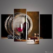 Canvas Wall Art For Dining Room by 2017 Modern 4 Panels Framed Still Life Grape And Wine Bottle