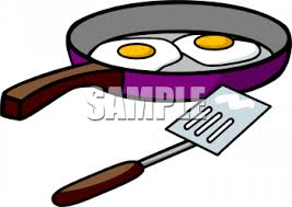 Clipart Picture of Two Eggs Frying in a Pan