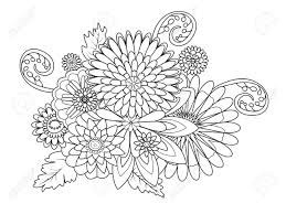 Flowers Decor Ornament Coloring Book For Adults Vector Illustration Stock