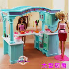 Super Big Size Green Open Kitchen Furniture For Barbie Doll House