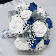 Wedding Bouquets In Blue And Silver Brooch Bouquet