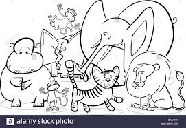 Black And White Cartoon Illustration Of Cute African Safari Wild Animals Group For Coloring Book