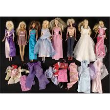 Collection Of 8 Barbie Dolls Extra Clothes Outfits