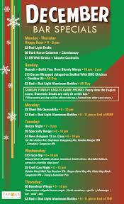 December Daily Bar Specials