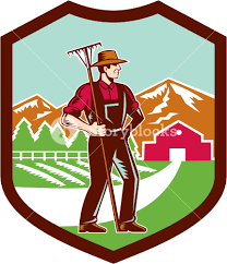 Illustration Of Organic Farmer With Rake Facing Side Set Inside ... Farm Animals Living In The Barnhouse Royalty Free Cliparts Stock Horse Designs Classy 60 Red Barn Silhouette Clip Art Inspiration Design Of Cute Clipart Instant Download File Digital With Clipart Suggestions For Barn On Bnyard Vector Farm Library
