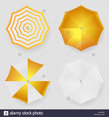 Set Of White Yellow Striped Blank Classic Opened Round Rain Umbrella Top View Mock Up