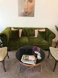 sofa grün velour chelli 2 sitzer