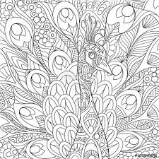 Zentangle Stylized Cartoon Peacock With Gorgeous Feathers And Royal Crown Sketch For Adult Antistress Coloring