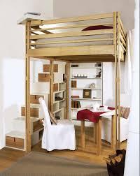 canap avec biblioth que int gr e lit mezzanine adulte avec escalier rangement intégré déco