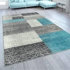 designer rug checked designer turquoise grey