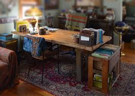 Custom Made Rustic Wood Office Desk And File Storage