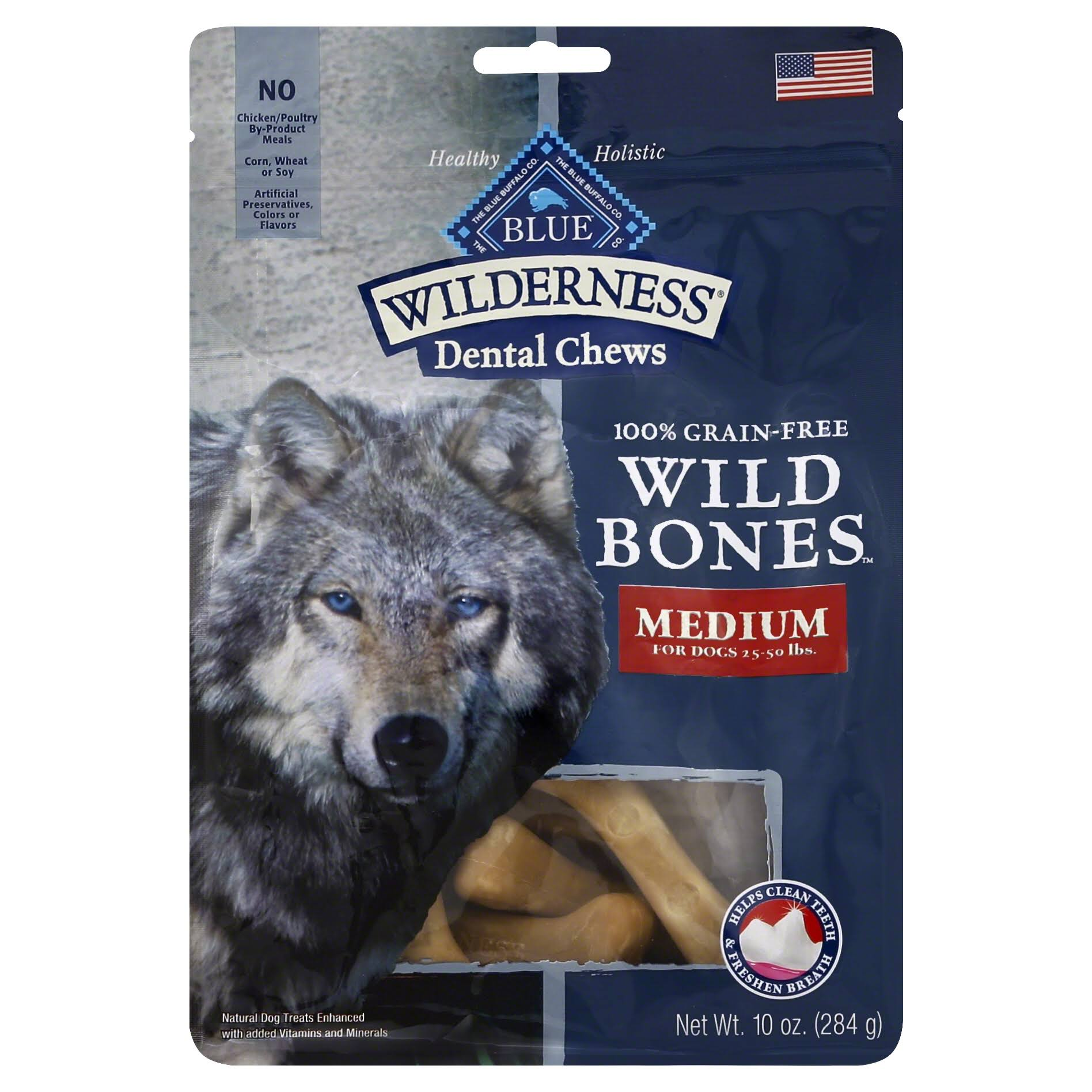 Blue Buffalo Wilderness Medium Wild Bones Dog Dental Chews - 10oz