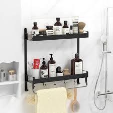 simplehome wand duschregal badregal ohne bohren duschablage wandregal bad duschablage duschkorb mit 2 etagen schwarz