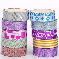 3 Meter 10pcs Artificial Geometry Glitter Stick Paper Tape Diy Flower Vase Craft Home Wall Decor CD031 In Party DIY Decorations From Garden On