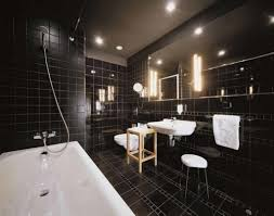 black floor tile design for modern bathroom ideas with large