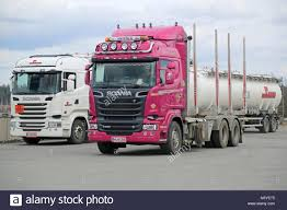 FORSSA, FINLAND – APRIL 6, 2015: Two Scania Euro 6 Trucks, Pink R620 ... Paris Truck V2 180mm Pink Pair Macs Waterski Dump Skilligimink Trucks Turn Pink For Breast Cancer Awareness Fleet Owner Truck With A Lift Kit Cute Pinterest 19 Beautiful That Any Girl Would Want New Trash Prince William County Va It Says Trashing The Big Of Britain Story Creative Marketing Jconcepts Tracker Monster Wheel Mock Beadlock Rings Theeve Csx V3 50 Skateboard Boalsburg Mans Pays Tribute To Survivors