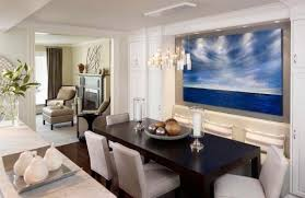 Dining Room Decorating Ideas Blue Painting Gold And Silver Balls Candles With Glasses Beautiful Chandelier Modern