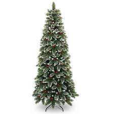 7ft Cashmere Pencil Christmas Tree by 7 5ft Snowy Westbury Pine Slim Artificial Christmas Tree Hayes