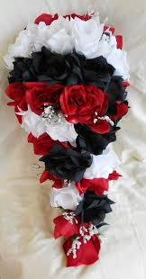 Silk Black red and white cascade wedding bouquet groom boutonniere