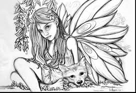 Beautiful Adult Fairies Coloring Pages Printable With Fairy Page And For Adults
