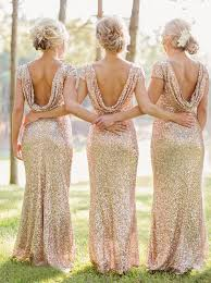 Cap Sleeve Bridesmaid Dresses Floor Length by Mermaid Bateau Cap Sleeves Floor Length Champagne Sequined