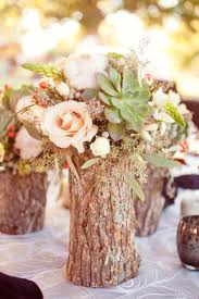 Rustic Vase Drill Out Center Of Branches Fill With Flowers
