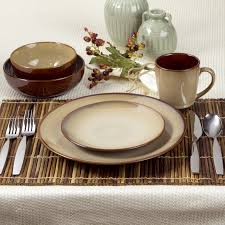 This Nova Brown 40 Piece Stoneware Dinnerware Set Has A Rustic Look And Casual Style