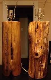 2 Handmade Wood Cedar Log Lamps Rustic Cabin Lodge Furniture Den
