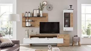 interliving wohnzimmer serie 2104 wohnkombination weiße lackoberflächen balkeneiche dreiteilig ca 276 cm