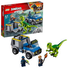 100 Dinosaur Truck Lego Juniors Jurassic World Raptor Rescue Set Cage