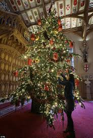 Staff Put The Finishing Touches To A 20ft Nordmann Fir Tree In St Georges Hall Which