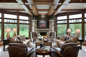Serta Recliners With Rustic Living Room Also Clerestory Windows Coffered Ceiling Dark Wood Beams Mountain Home