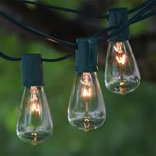 50 ft green c9 string light with vintage edison clear bulbs