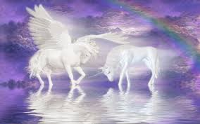 Fantasy Wallpaper With Unicorns Clouds And Rainbow
