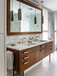 mid century modern bathroom tile brown stained vanity cabinet