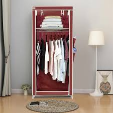 Finether Non Woven Fabric Single Wardrobe with Side Pockets