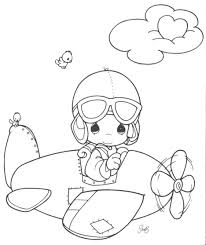 Coloring Pages Free Printable Precious Moments Sheets Airplane Digital Stamp Alphabet Best Friends