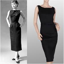 Classic Audrey Hepburn Black Dress Designer Vestidos Femininos Vintage 50s Rockabilly Pinup Evening Party Wiggle Pencil