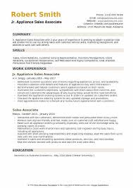 Appliance Sales Associate Resume Example