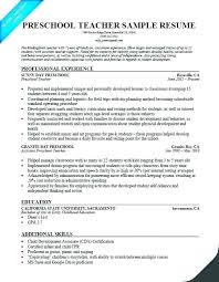Preschool Resume Samples For Teachers With No Experience In India