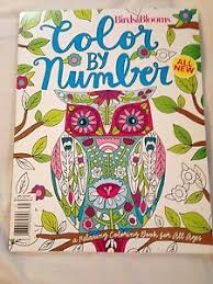 Image Is Loading BIRDS AND BLOOMS COLOR BY NUMBER ADULT COLORING