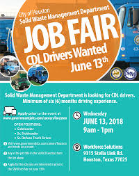 100 Truck Driving Jobs In Houston Solid Waste Management Department Job Fair June 13 Brays Oaks