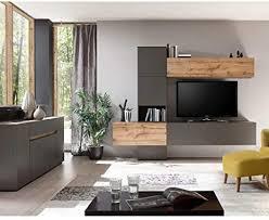 lomadox design wohnwand mit sideboard in matt anthrazit mit wotan eiche